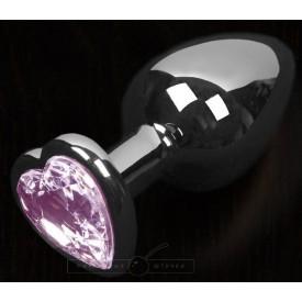 Графитовая анальная пробка с розовым кристаллом в виде сердечка - 6 см.