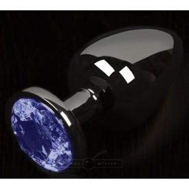 Графитовая анальная пробка с синим кристаллом - 6 см.
