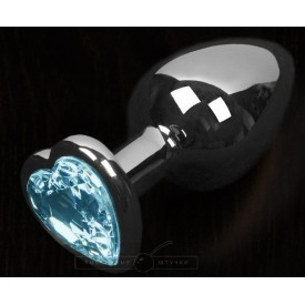Графитовая анальная пробка с голубым кристаллом в виде сердечка - 8,5 см.