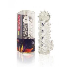 Закрытая прозрачная насадка Crystal sleeve с усиками и пупырышками - 13,5 см.